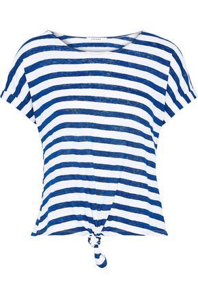 FRAME Knotted striped linen-jersey T-shirt