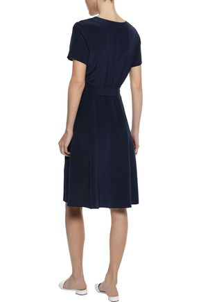 IRIS & INK Siv belted washed-silk dress