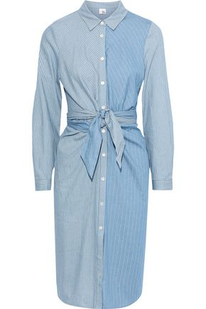 IRIS & INK Tie-front patchwork-effect striped cotton shirt dress