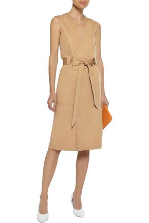 IRIS & INK Freja cotton-twill wrap dress