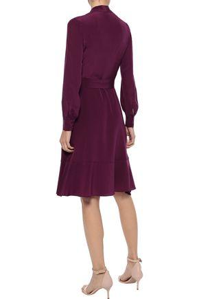 IRIS & INK Eva wrap-effect silk dress