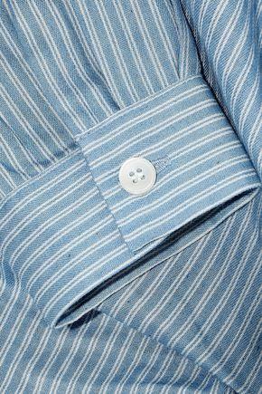 IRIS & INK タイフロント パネルデザイン ストライプ コットン シャツ