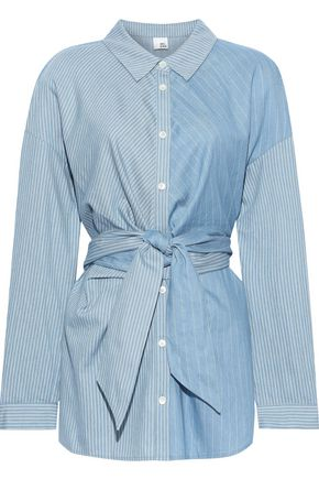 IRIS & INK Hilda tie-front paneled striped cotton shirt
