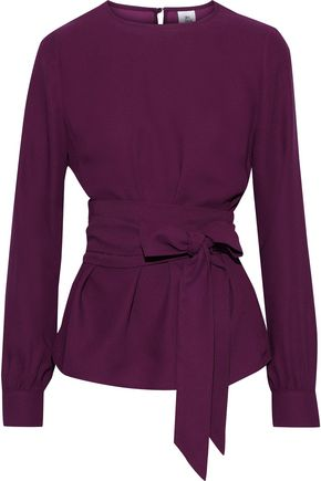 IRIS & INK Mareta belted crepe blouse