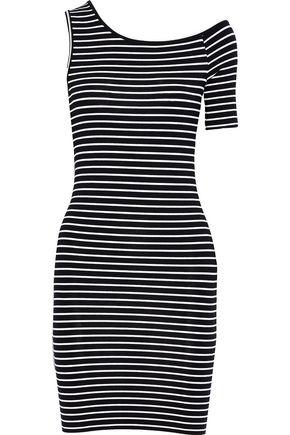 FRAME Striped stretch-jersey mini dress
