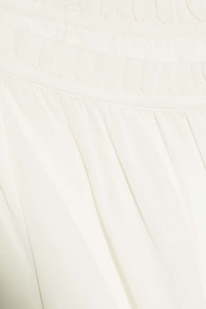 FRAME Bow-detailed gathered crepe blouse