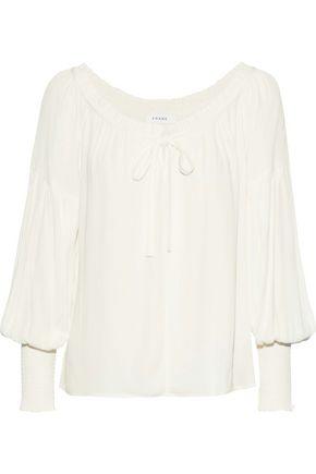 FRAME Gathered crepe blouse