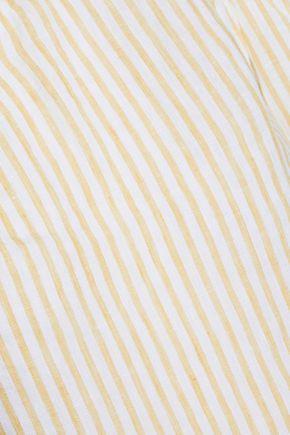 FRAME One-shoulder striped linen top