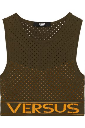 VERSUS VERSACE Cropped perforated stretch-knit top