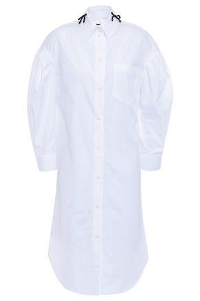 SIMONE ROCHA Gathered bead-embellished cotton-poplin shirt dress