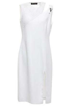 VERSACE Crochet-paneled cutout stretch-crepe dress