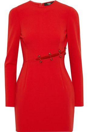 VERSUS VERSACE Barbell-embellished cutout cady mini dress