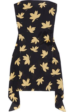 VERSUS VERSACE Strapless floral-print silk-crepe mini dress