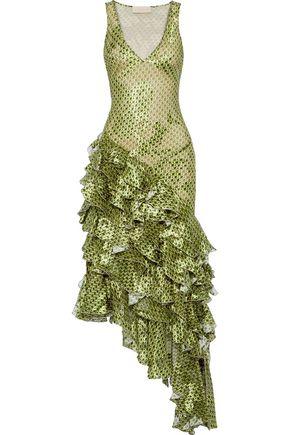 ANTONIO BERARDI Asymmetric ruffled printed fil coupé chiffon gown