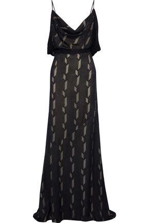 ANTONIO BERARDI Open-back draped fil coupé silk-blend gown