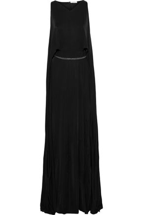 VERSACE COLLECTION Layered crystal-embellished satin-jersey gown