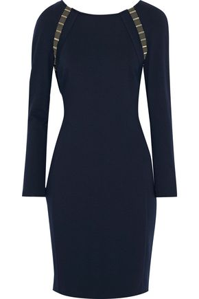 VERSACE COLLECTION Embellished mesh-trimmed stretch-jersey dress