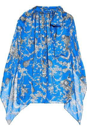 ANTONIO BERARDI Pussy-bow draped printed silk-chiffon blouse