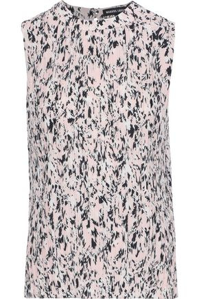 MARKUS LUPFER Cloe printed plissé-crepe top