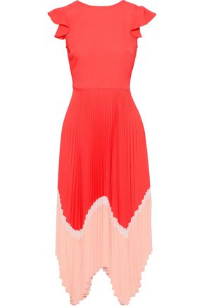 MARKUS LUPFER Cloe asymmetric pleated color-block crepe dress