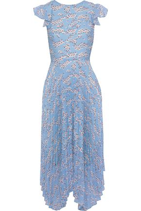 MARKUS LUPFER Sadie pleated floral-print crepe de chine and chiffon midi dress