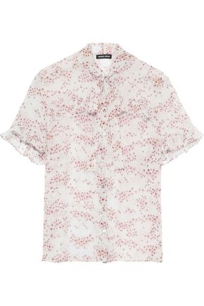 MARKUS LUPFER Ellie pussy-bow floral-print silk-georgette blouse