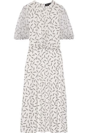 MARKUS LUPFER Carlie printed georgette-paneled silk crepe de chine midi dress