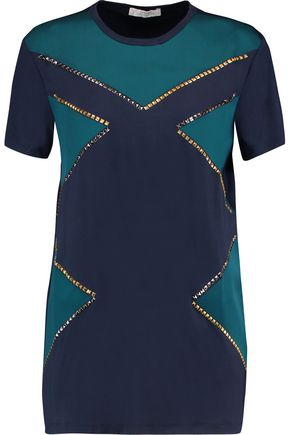 VERSACE COLLECTION Studded stretch-jersey T-shirt