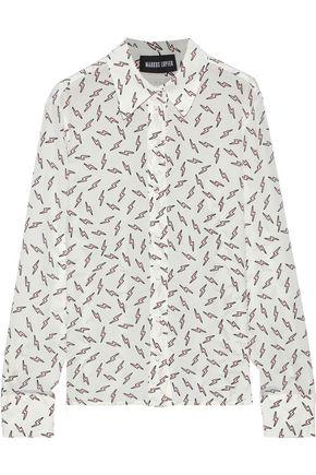 MARKUS LUPFER Peony printed silk crepe de chine shirt
