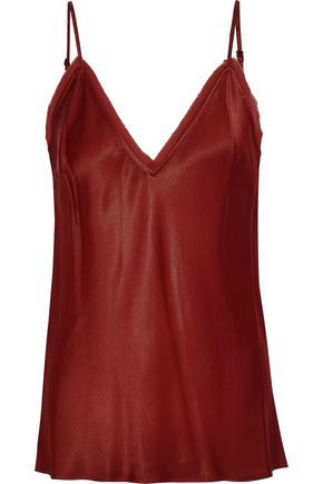FRAME Frayed chiffon-trimmed satin camisole
