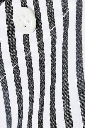 FRAME Aslant off-the-shoulder striped cotton-poplin shirt