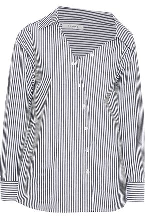 FRAME Aslant off-the-shoulder striped cotton-poplin shirt