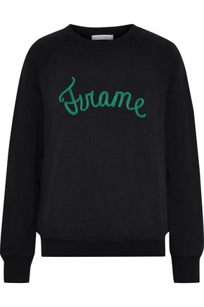 FRAME Old School embroidered cotton-blend fleece sweatshirt