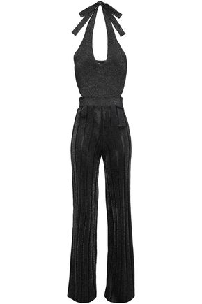 CUSHNIE Cutout metallic stretch-knit jumpsuit