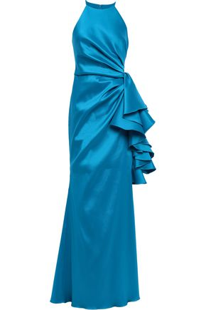 BADGLEY MISCHKA Pleated ruffled faille gown