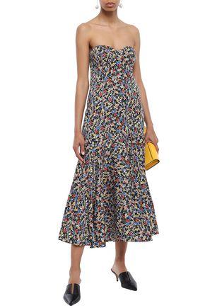 VERONICA BEARD Strapless floral-print stretch-silk midi dress