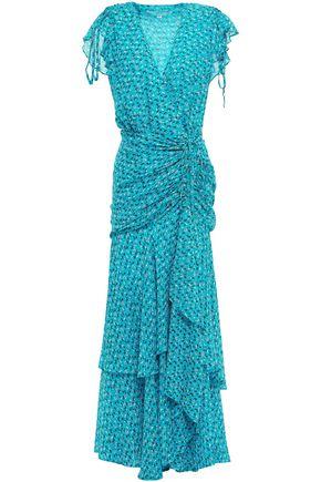VERONICA BEARD Wrap-effect ruched silk-georgette maxi dress