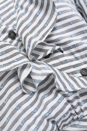VERONICA BEARD Striped fil coupé cotton-blend mini dress