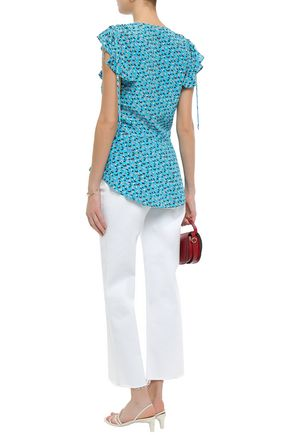 VERONICA BEARD Ruched floral-print silk top