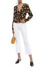 VERONICA BEARD Ruched floral-print silk blouse