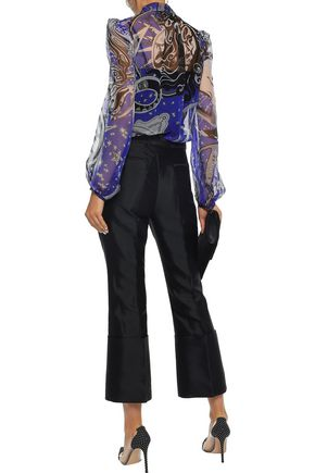 EMILIO PUCCI Pussy-bow printed silk-georgette blouse