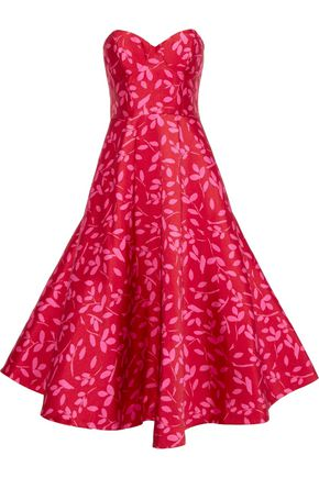 SACHIN & BABI Bisate strapless printed satin-twill gown
