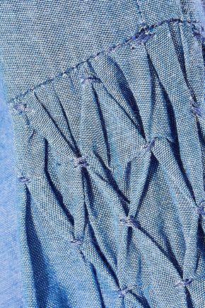 JOIE Mineko smocked cotton-chambray shirt
