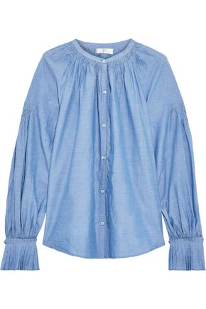 JOIE Mineko smocked cotton-chambray shirt