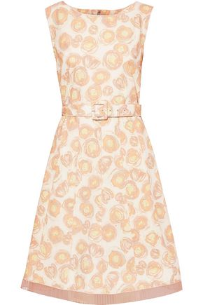 MARC JACOBS Belted chiffon-trimmed floral-print cotton-blend poplin dress
