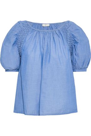 JOIE Lirona smocked cotton-chambray blouse