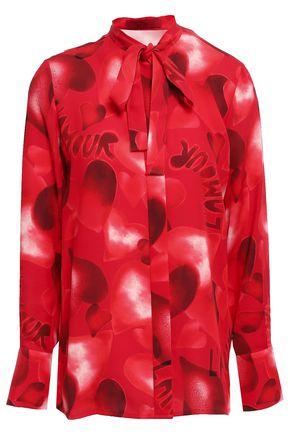 VALENTINO Floral-print silk blouse