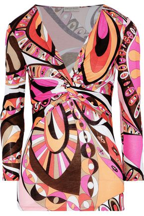 EMILIO PUCCI Twist-front printed jersey top