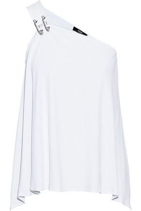 VERSUS VERSACE One-shoulder embellished cady top