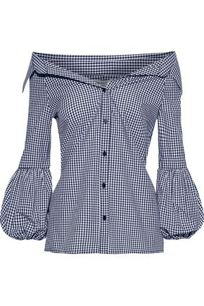 BAILEY 44 Bleeding Heart off-the-shoulder gingham cotton-poplin shirt